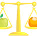 A concept vector illustration showing an apple and an orange on scales. Attempting to compare apples and oranges.