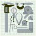 Measuring instruments on graph paper,  conceptual vector set